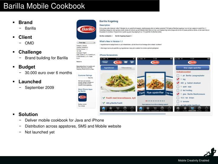 Barilla Mobile Cookbook