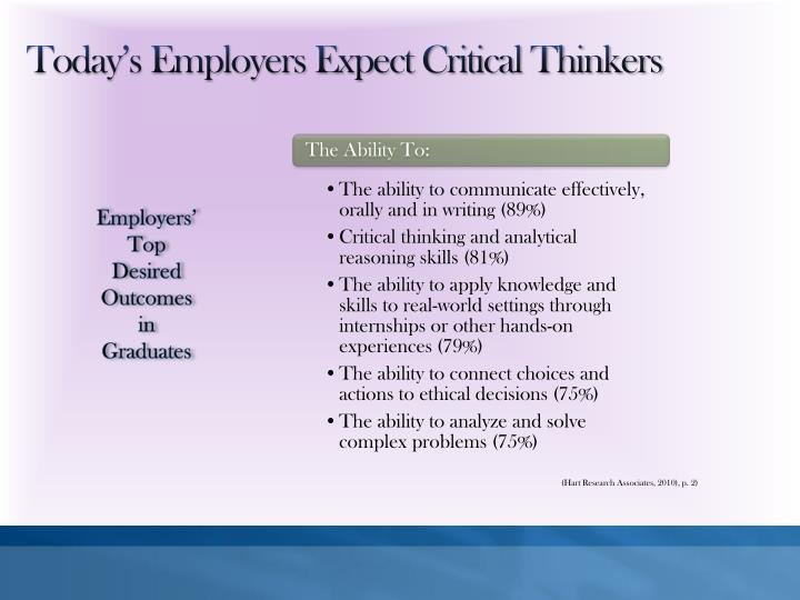 Today's Employers Expect Critical Thinkers
