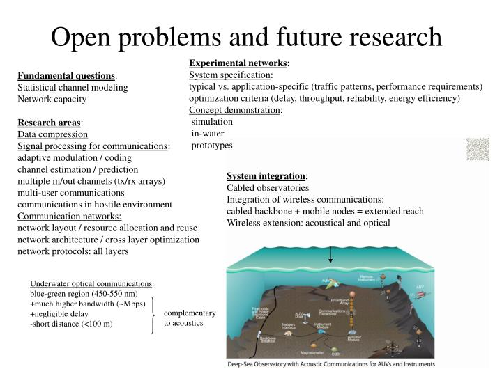 Open problems and future research