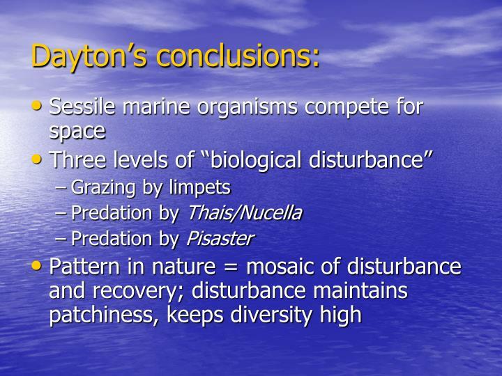 Dayton's conclusions: