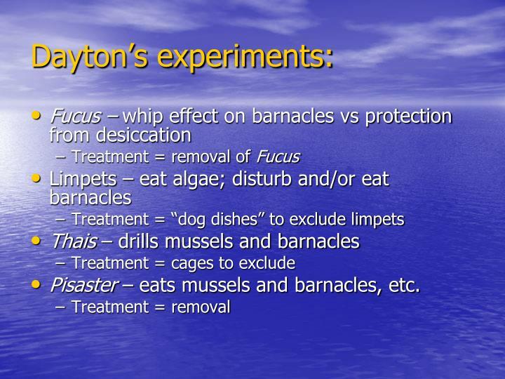 Dayton's experiments:
