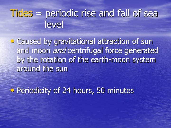 Tides periodic rise and fall of sea level