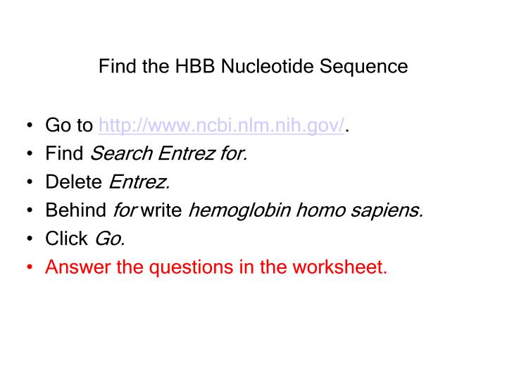 Find the HBB Nucleotide Sequence