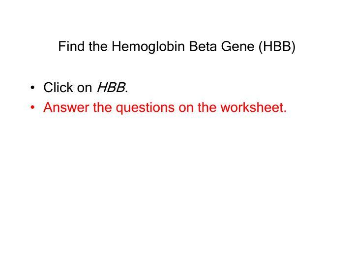 Find the Hemoglobin Beta Gene (HBB)