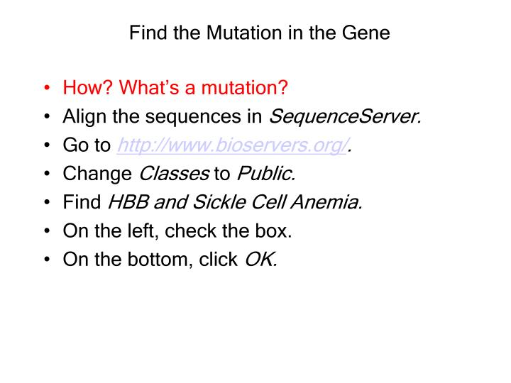 Find the Mutation in the Gene