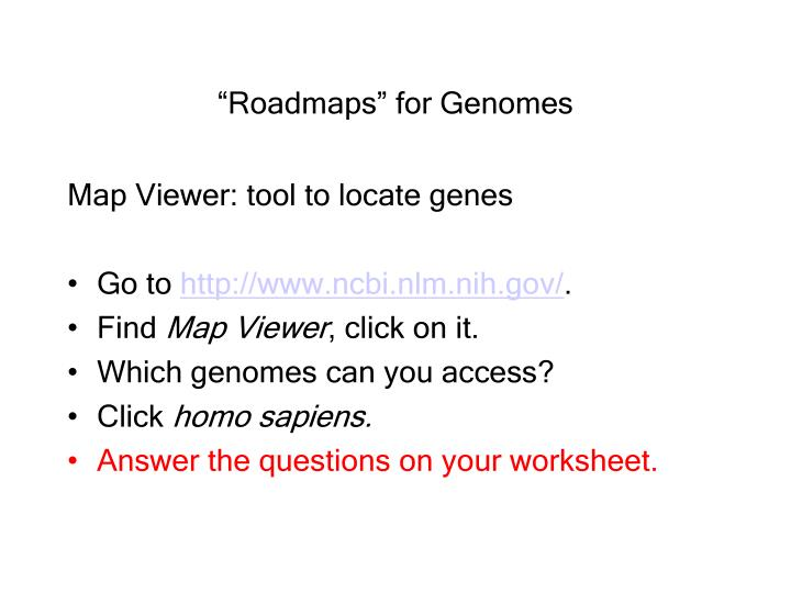 """Roadmaps"" for Genomes"