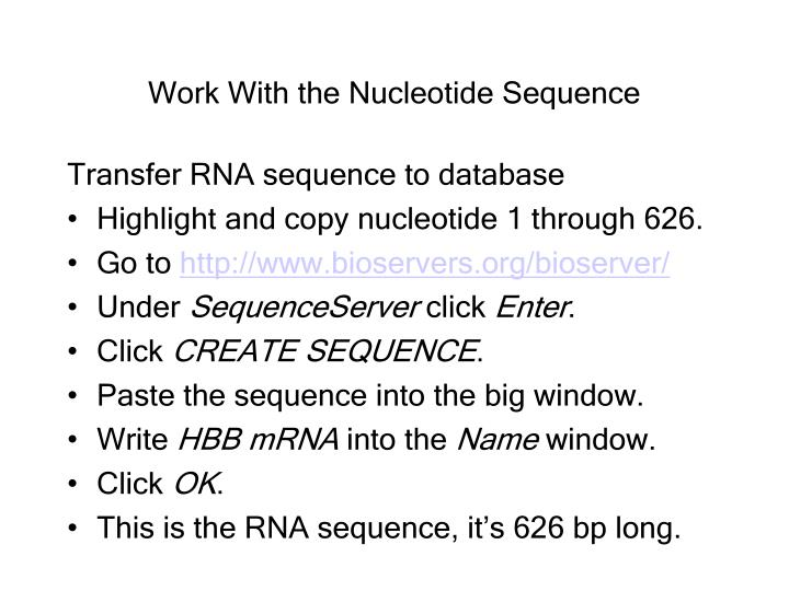 Work With the Nucleotide Sequence