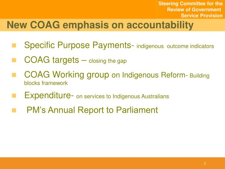 New COAG emphasis on accountability