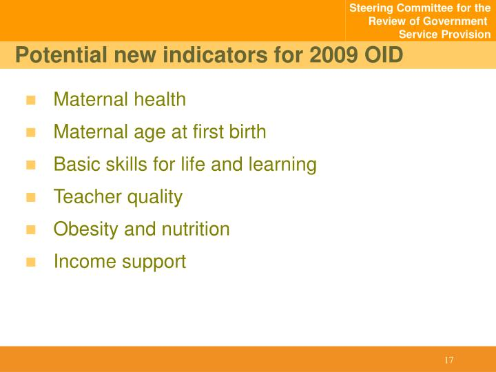 Potential new indicators for 2009 OID