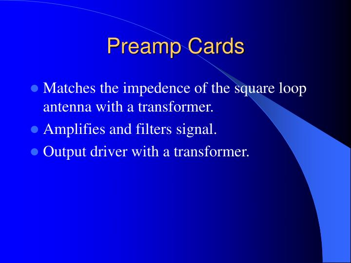 Preamp Cards