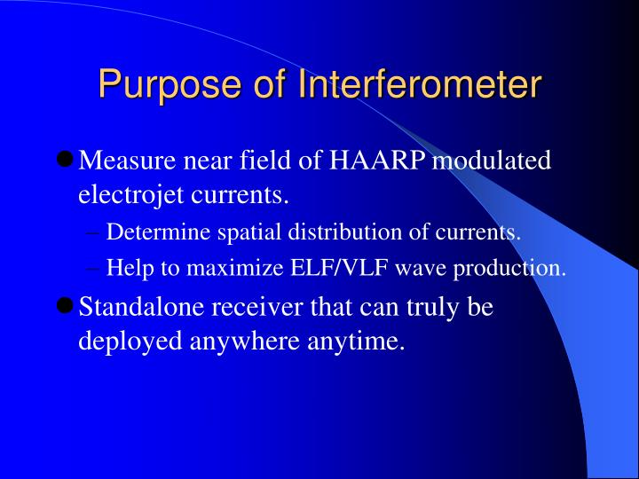 Purpose of Interferometer