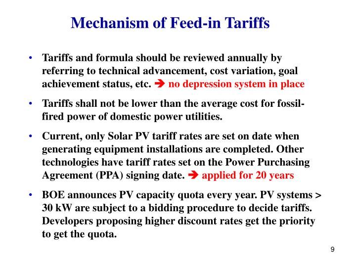 Mechanism of Feed-in Tariffs