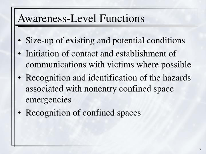 Awareness-Level Functions