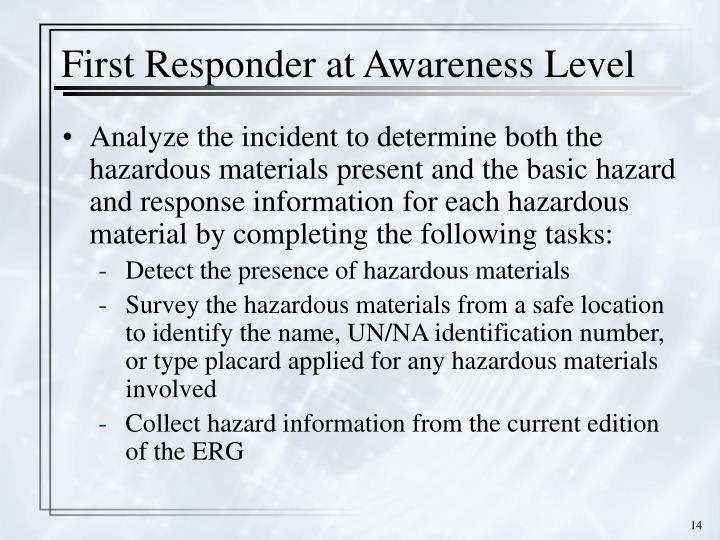 First Responder at Awareness Level