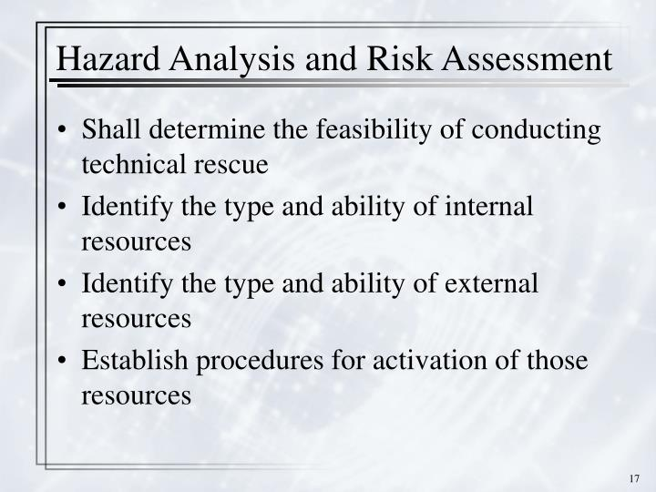 Hazard Analysis and Risk Assessment