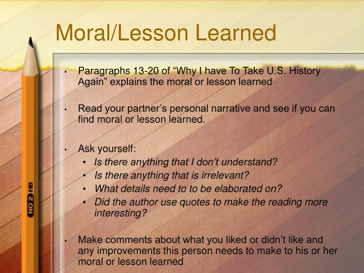 Moral/Lesson Learned