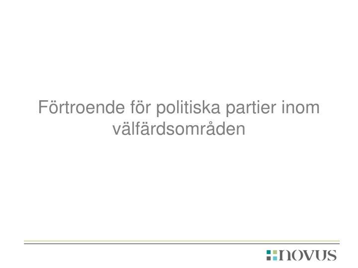 Förtroende för politiska partier inom välfärdsområden