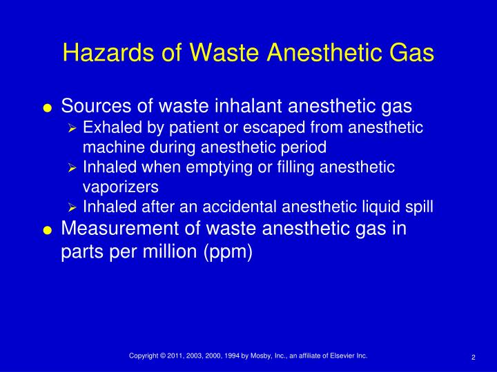 Hazards of waste anesthetic gas