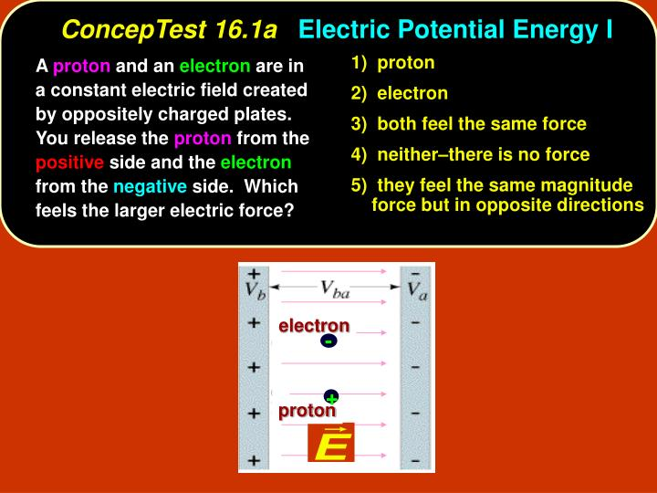 Conceptest 16 1a electric potential energy i