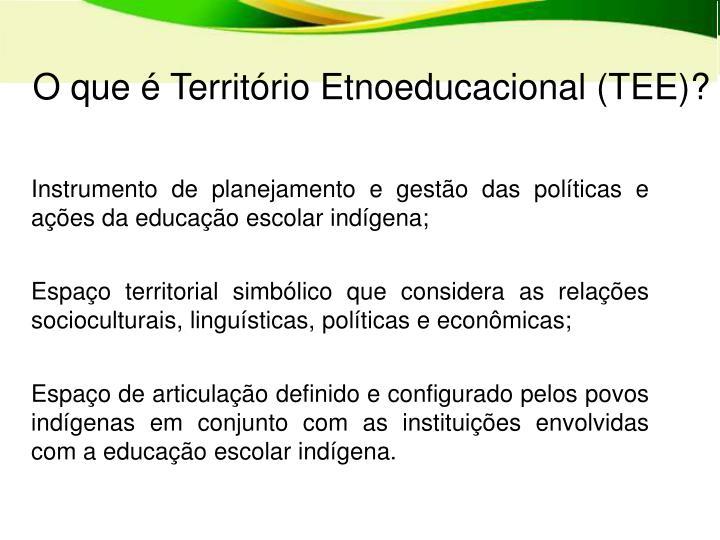 O que é Território Etnoeducacional (TEE)?