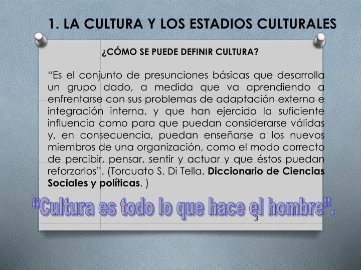 1. LA CULTURA Y LOS ESTADIOS CULTURALES