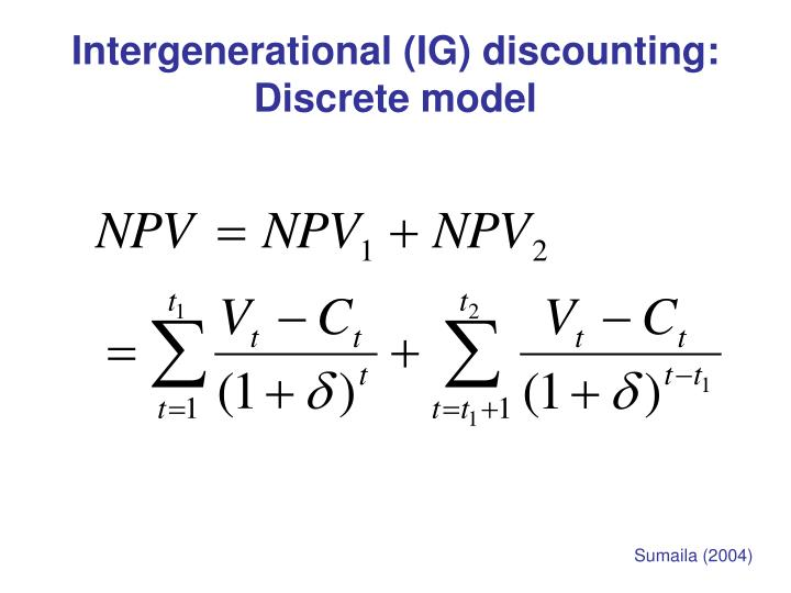 Intergenerational (IG) discounting: Discrete model