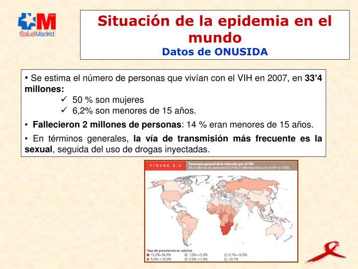 Situación de la epidemia en el mundo