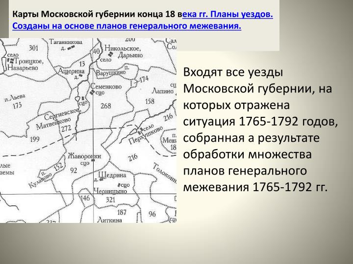 Карты Московской губернии конца 18 в