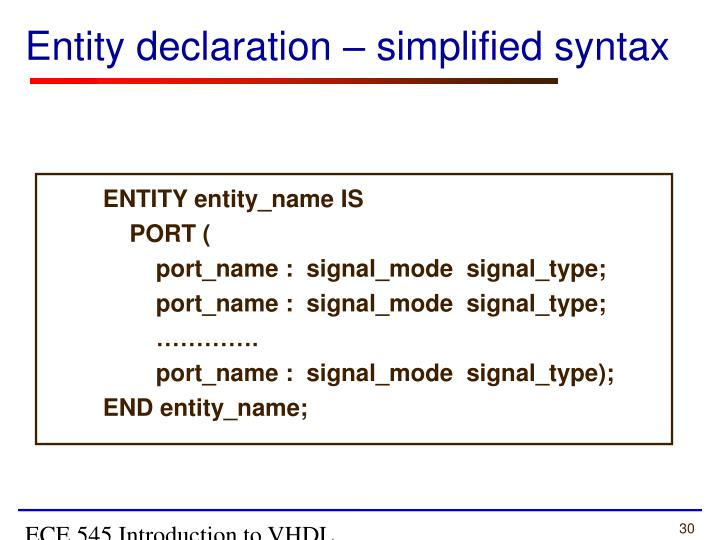 ECE 545 Introduction to VHDL