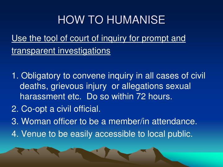 HOW TO HUMANISE