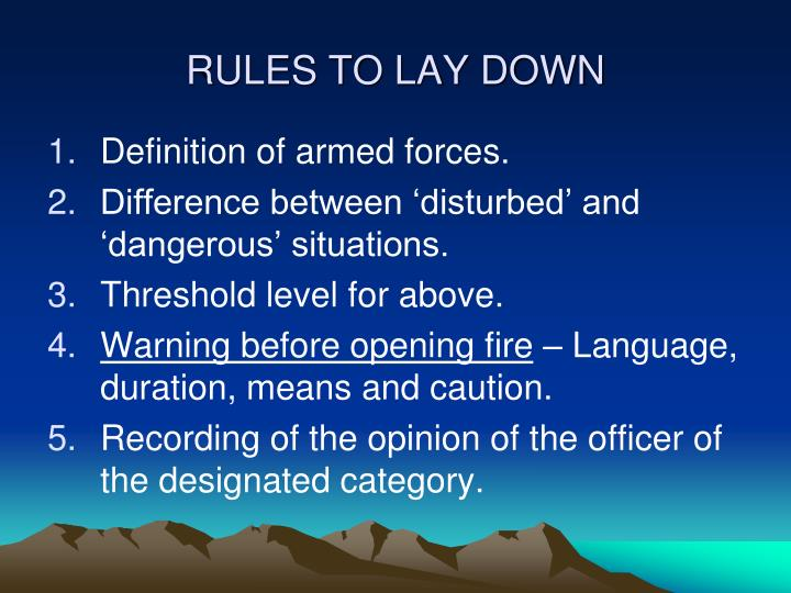 RULES TO LAY DOWN