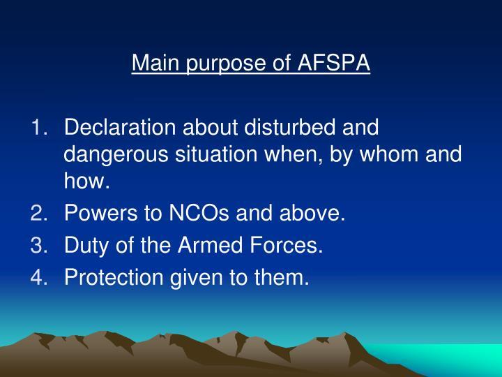 Main purpose of AFSPA