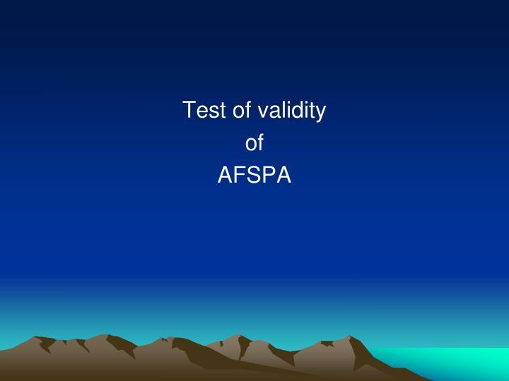 Test of validity