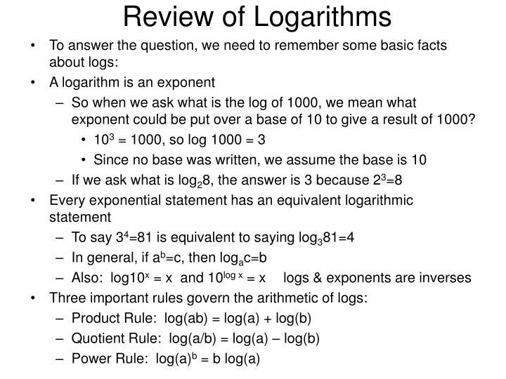 Review of Logarithms