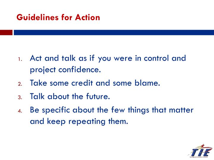 Guidelines for Action
