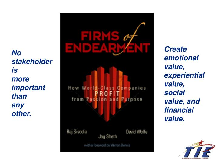 Create emotional value, experiential value, social value, and financial value.