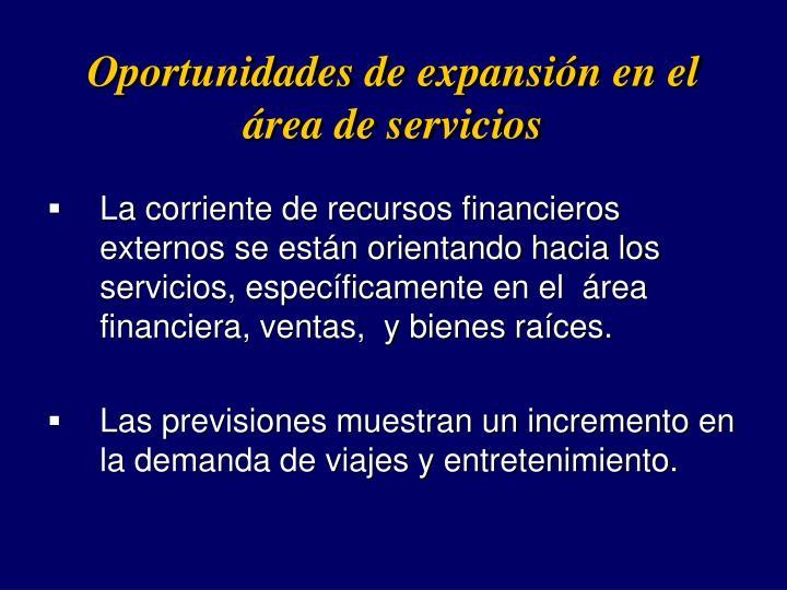 Oportunidades de expansin en el rea de servicios