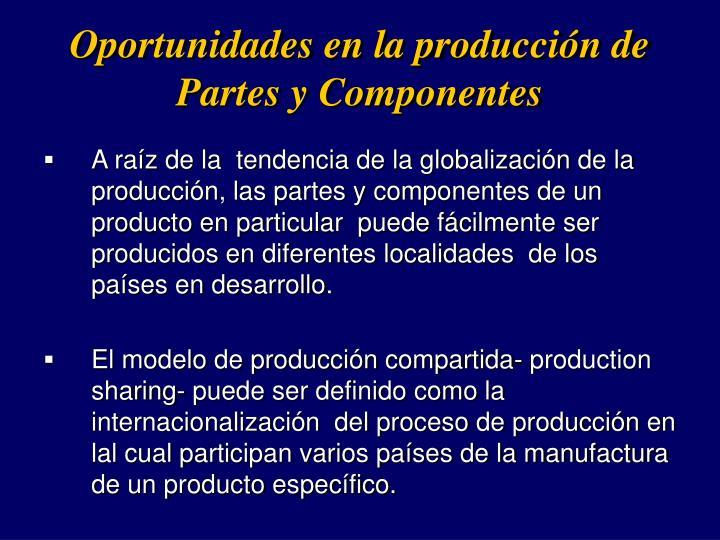 Oportunidades en la produccin de Partes y Componentes