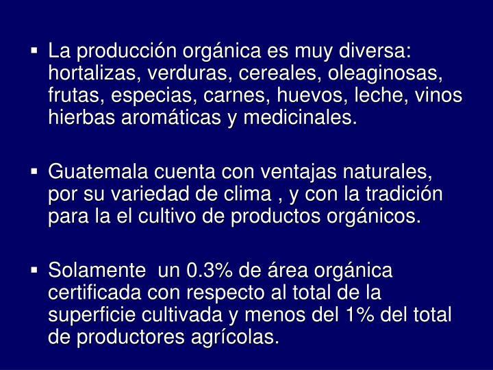 La produccin orgnica es muy diversa: hortalizas, verduras, cereales, oleaginosas, frutas, especias, carnes, huevos, leche, vinos hierbas aromticas y medicinales.