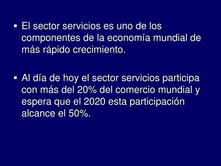 El sector servicios es uno de los componentes de la economa mundial de ms rpido crecimiento.