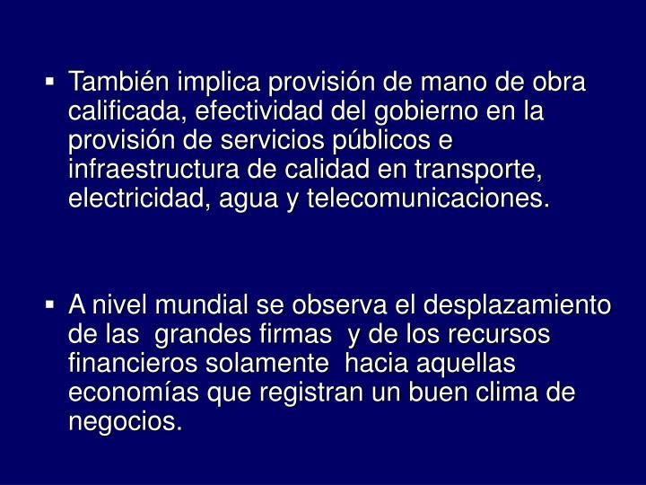 Tambin implica provisin de mano de obra calificada, efectividad del gobierno en la provisin de servicios pblicos e infraestructura de calidad en transporte, electricidad, agua y telecomunicaciones.