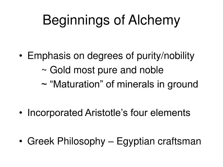 Beginnings of Alchemy