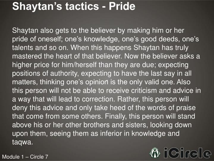 Shaytan's tactics - Pride