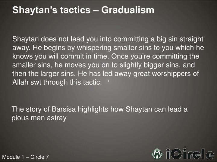 Shaytan's tactics – Gradualism