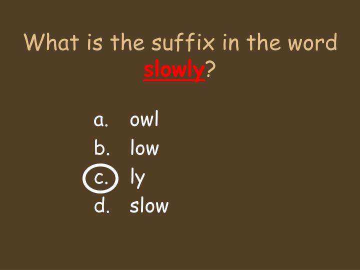 What is the suffix in the word