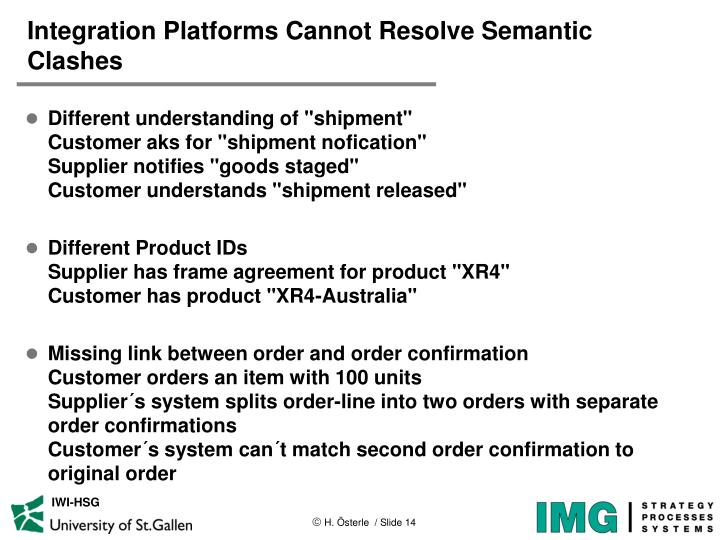 Integration Platforms Cannot Resolve Semantic Clashes