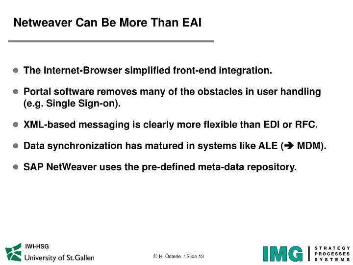 Netweaver Can Be More Than EAI