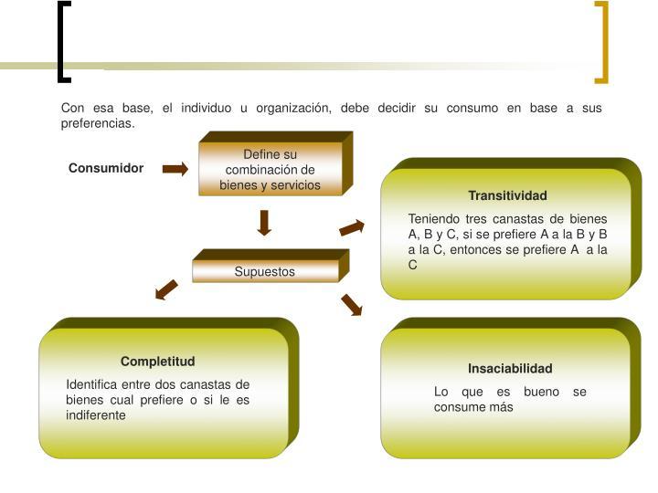 Con esa base, el individuo u organización, debe decidir su consumo en base a sus preferencias.