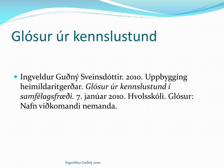 Glósur úr kennslustund