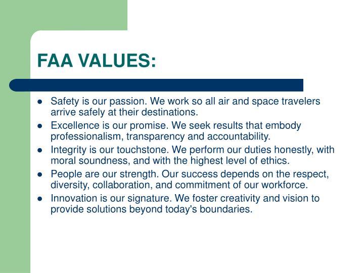 FAA VALUES: